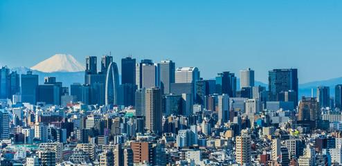 Photo sur Aluminium Tokyo 東京 新宿の高層ビル群と富士山 ~Tokyo Shinjuku Skyscraper & Mt.Fuji ~