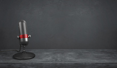 Old fashion retro microphone Wall mural