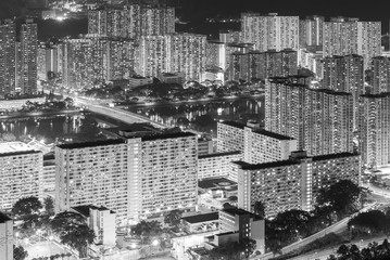 Door stickers Beijing Aerial view of residential district of Hong Kong City at night