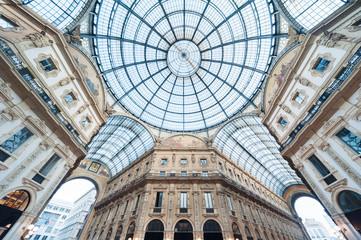 Fototapete - Glass dome of Galleria Vittorio Emanuele in Milan, Italy
