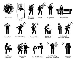 Sign symptoms of coronavirus and prevention tips. Vector artwork of people infected with coronavirus, influenza, or flu. Precaution and prevention ways to stop the pandemic virus from spreading.