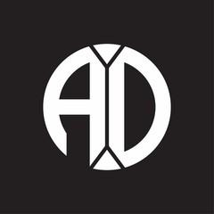 AD Logo monogram with piece circle ribbon style