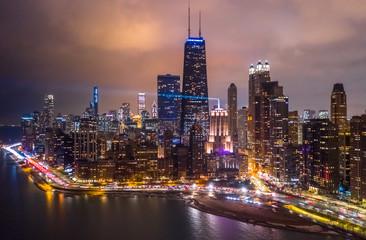 Fototapete - Chicago downtown buildings aerial skyline