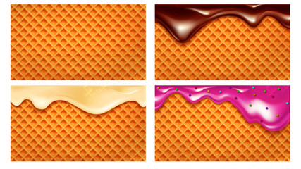 Wafer Crunchy Baked Waffle Collection Set Vector. Blank Wafer Biscuit And With Strawberry, Vanilla And Chocolate Cream. Crisp Deliciously Dessert Texture Concept Template Realistic 3d Illustrations