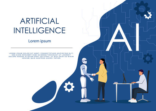 Ai or artificial intelligence vector concept with ai robot handshake with human. Symbol of future cooperation, technology advance, innovation. Eps10 vector illustration