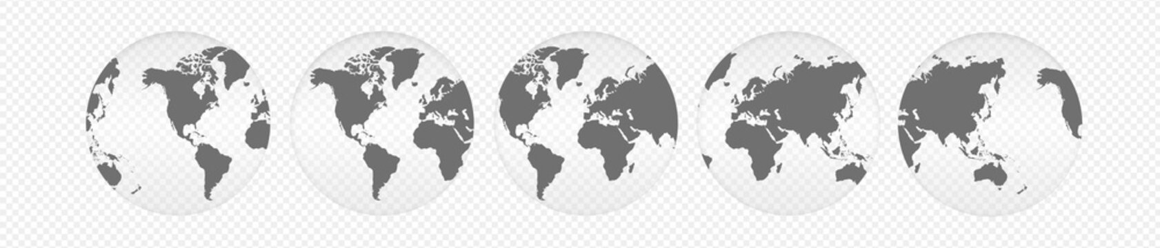 Realistic World Map On Globe Shape With Transparent Shadow Isolated With Clipping Path. Globes of Earth. Blue Planet Icon Symbols.