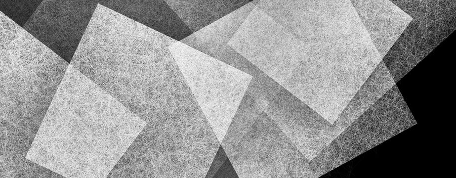 black and white abstract background with texture and layers of white squares on black background in modern geometric layers