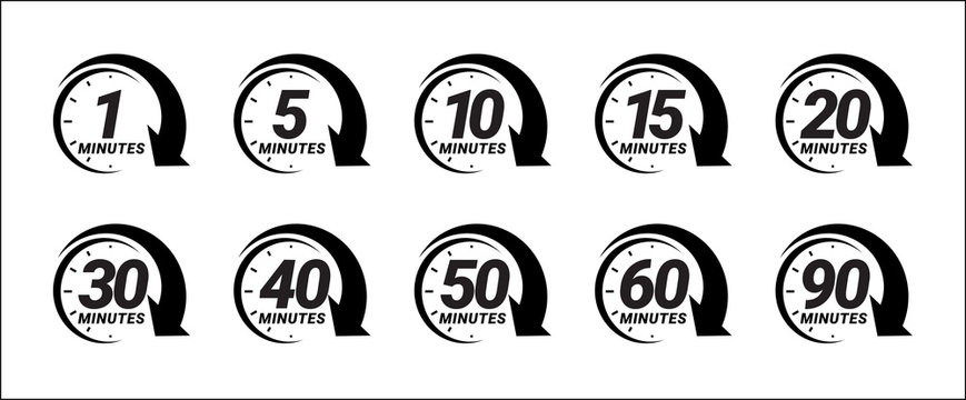 Minute timer icons set. one minute, five, ten, fifteen or more minutes. The arrow shows the limited cooking time or deadline. Vector illustration