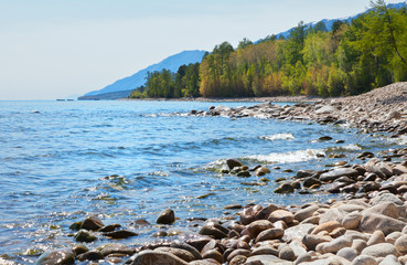 Lake Baikal in June. Sun glare plays on the wet stones of the Barguzin Bay. Young green foliage on larches and birches in the coastal forest of the Holy Nose Peninsula. Summer travel