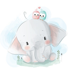 Cute Little Elephant With Birdies on His Head