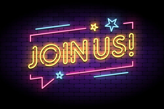 Join us sign in glowing neon style with speech bubble and stars. Vector illustration for follow, join new members in social account.