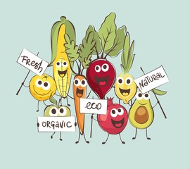 Funny cartoon foods. Set vector illustrations with comic vegetables and fruits.