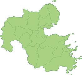 大分県の地図_市町村ごとに色を変えられます