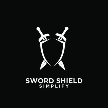 black two sword and shield logo icon design vector with dark background