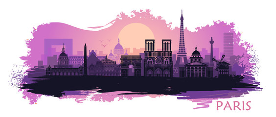 Stylized landscape of Paris with Eiffel tower, arc de Triomphe and Notre Dame Cathedral with spots and splashes of paint Fotomurales