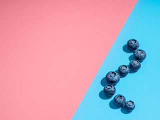 Blueberry on duotone background. Minimalistic concept. Blueberries on pink and blue background in hard light. Copy space for text or design.
