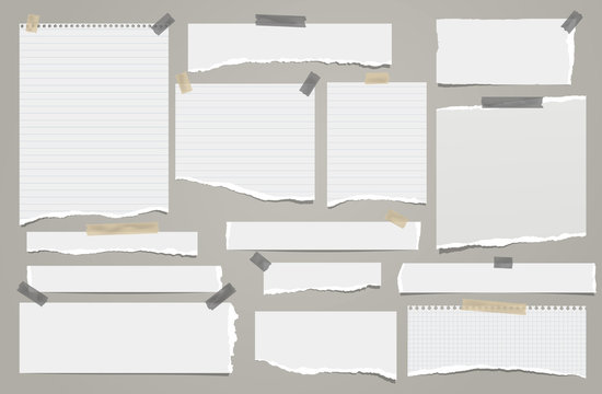 Set of torn white lined note, notebook paper strips and pieces stuck with sticky tape on grey background. Vector illustration