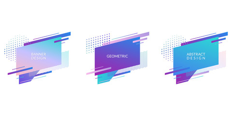 Abstract geometric badges for banner or poster design Modern graphic shapes background. Vector illustration.