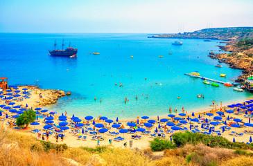 Konnos Beach of Cyprus island. Cape Greko natural park.