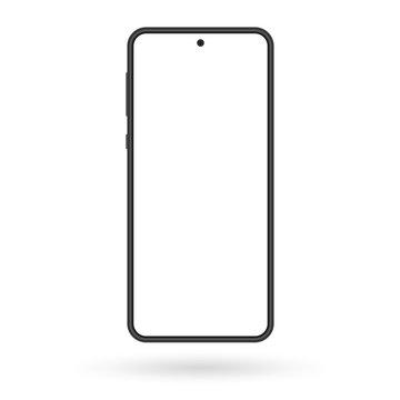 Smartphone mockup. Mobile phone screen blank. Black cellphone isolated on white background. Vector illustration.