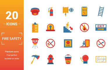 Fire Safety icon set. Include creative elements smoke detector, fire hose, report, no fire, fire sprinkler icons. Can be used for report, presentation, diagram, web design