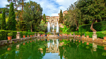 Neptune Fountain and Water Organ in the gardens at the Villa d'Este, Tivoli, Italy. UNESCO world heritage site.