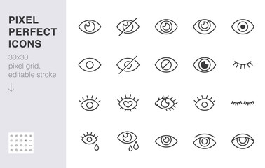 Eye line icon set. Open, closed eyes, visible invisible concept, hidden password, view minimal vector illustrations. Simple outline signs for web application ui. 30x30 Pixel Perfect. Editable Strokes
