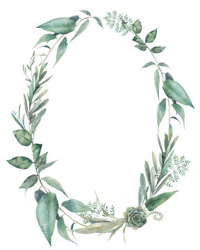 Green plants oval frame. Hand painted invite or greeting card template. Floral wreath isolated on white background.