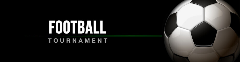 football tournament sport poster design banner with 3d realistic shiny ball isolated on black background. horizontal flyer Illustration soccer championship template with realistic black and white ball
