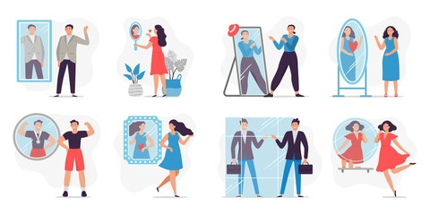People looking in mirror. Love and proud yourself, man happy to see reflection in mirror and motivation vector illustration. Concept of self-confidence, self-acceptance, self-esteem, narcissism.