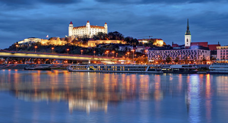 Bratislava skyline at night with castle, Slovakia