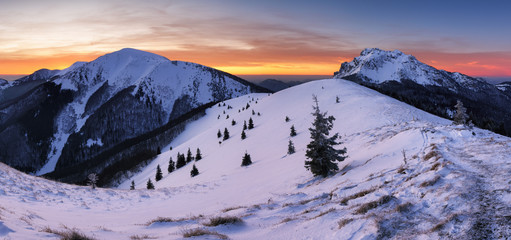 Fotobehang Purper Winter mountain landscape in Mala Fatra on hill Velky Rozsutec in Slovakia