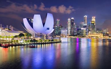 Fotomurales - Singapore panorama skyline at night, Marina bay