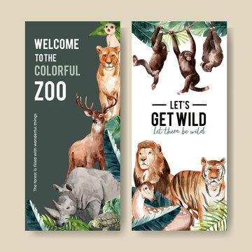 Zoo flyer design with meerkat, lion, tiger watercolor illustration.