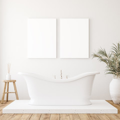 Mockup canvas in minimalist white bathroom interior, 3d render