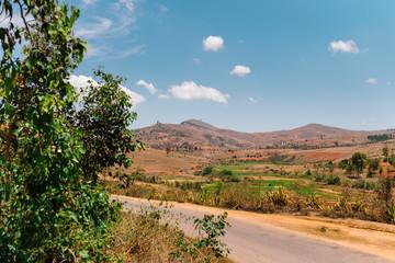 Deserted landscape of dry hills on a sunny day, Fianarantsoa, Madagascar