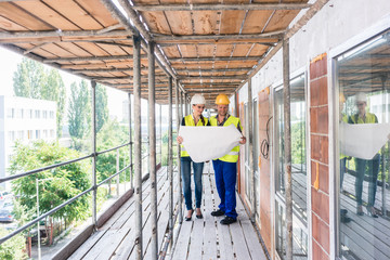 Construction worker and builder on scaffolding reading the plan