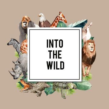 Zoo wreath design with eagle, gorilla, giraffe, rhino watercolor illustration,