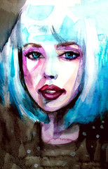 Blue eyes and blue hair, watercolor closeup portrait of young woman in watercolor on white isolated background