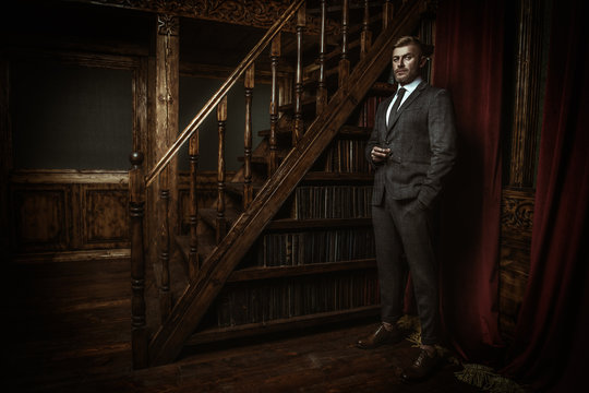 businessman in library