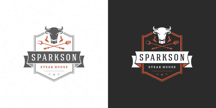 Barbecue logo vector illustration grill steak house or bbq restaurant menu emblem cow head with flame silhouette