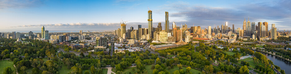 Melbourne Australia February 2nd 2020 : Dawn aerial panoramic image of the city of Melbourne Australia captured from the Botanic Gardens, from the Shrine of Rememberance to Flinders street station