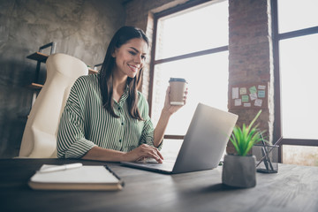 Profile side view portrait of nice attractive cheerful lady company director sitting in chair drinking tea watching presentation at modern industrial brick loft interior style work place station Wall mural