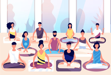 Meditation group. People sit in lotus posture and meditate against panoramic window. Business meditation, team building vector concept. Illustration wellness health position, people cartoon meditating