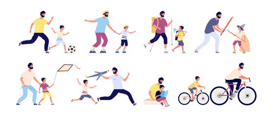 Father with children. Happy fatherhood, daddy and kids spending time together playing football, hiking and sunbathing, fishing vector set. Illustration father and sin ride bike and play