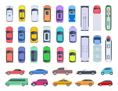 Top side view cars. Auto transport, truck and car roof of vehicle transport. Public and privat transport vector set. Auto car above view, transport truck, van and machine illustration