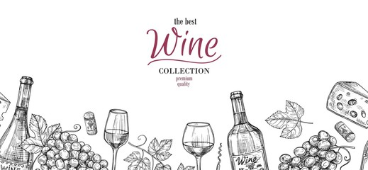 Sketch wine. Drawing drinks, grapes, bottles seamless border. Alcoholic banner with glasses and cheese, winery vector background. Wine drink drawing sketch, bottle and harvest illustration