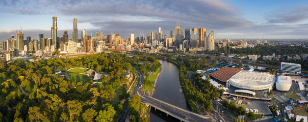 Aerial panoramic view of the Rod Laver arena and the city of Melbourne Australia