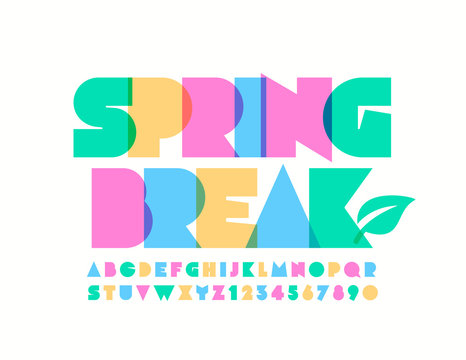 Vector colorful Sign Spring Break. Bright original Font. Stylish Alphabet Letters and Numbers.