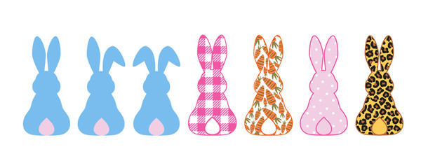 .   Silhouettes collection of Rabbits . Bunny ears, Leopard, buffalo plaid, polka dots, carrot pattern..Vector clipart. Easter design elements.